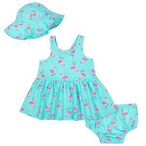 Baby girl flamingo dress and hat set
